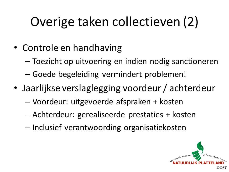 Overige taken collectieven (2) Controle en handhaving – Toezicht op uitvoering en indien nodig sanctioneren – Goede begeleiding vermindert problemen.