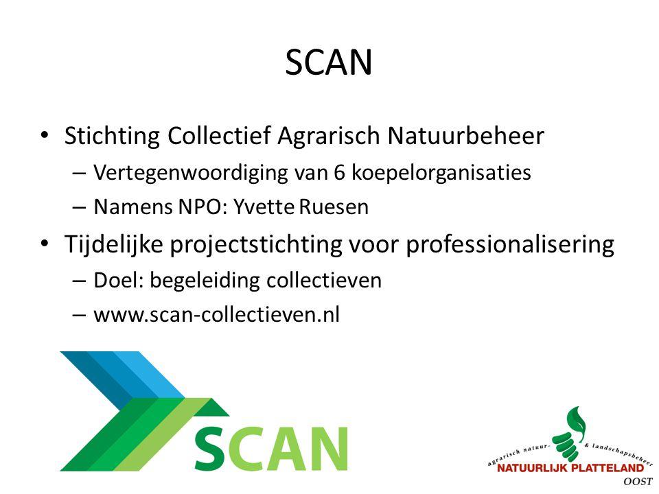 SCAN Stichting Collectief Agrarisch Natuurbeheer – Vertegenwoordiging van 6 koepelorganisaties – Namens NPO: Yvette Ruesen Tijdelijke projectstichting