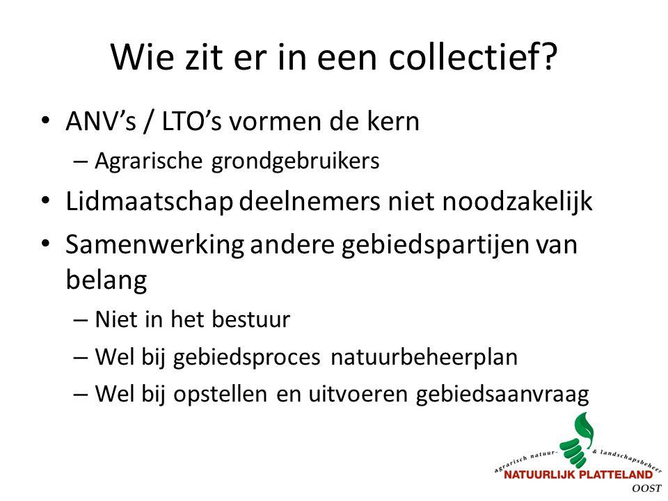 Wie zit er in een collectief? ANV's / LTO's vormen de kern – Agrarische grondgebruikers Lidmaatschap deelnemers niet noodzakelijk Samenwerking andere