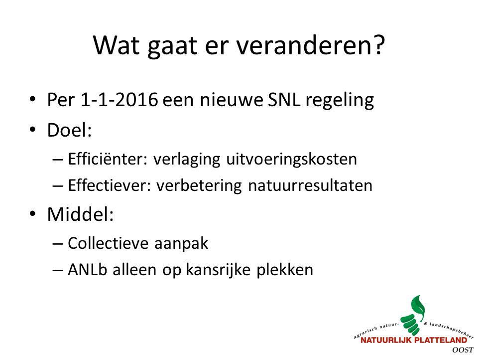 Wat gaat er veranderen? Per 1-1-2016 een nieuwe SNL regeling Doel: – Efficiënter: verlaging uitvoeringskosten – Effectiever: verbetering natuurresulta