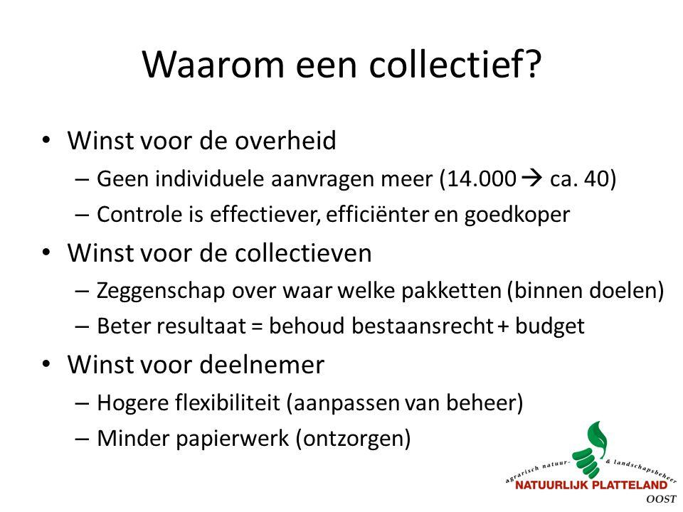 Waarom een collectief? Winst voor de overheid – Geen individuele aanvragen meer (14.000  ca. 40) – Controle is effectiever, efficiënter en goedkoper