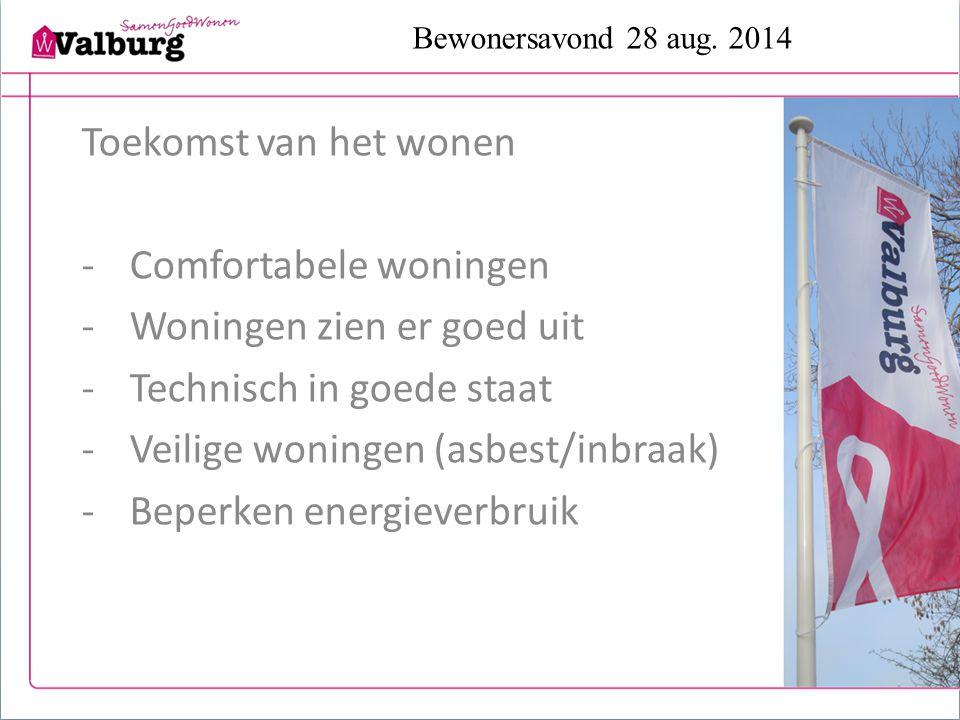 Bewonersavond 28 aug. 2014 Toekomst van het wonen -Comfortabele woningen -Woningen zien er goed uit -Technisch in goede staat -Veilige woningen (asbes