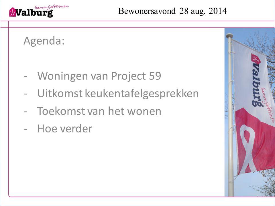 Bewonersavond 28 aug. 2014 Agenda: -Woningen van Project 59 -Uitkomst keukentafelgesprekken -Toekomst van het wonen -Hoe verder