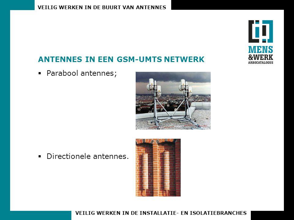VEILIG WERKEN IN DE BUURT VAN ANTENNES VEILIG WERKEN IN DE INSTALLATIE- EN ISOLATIEBRANCHES ANTENNES IN EEN GSM-UMTS NETWERK  Parabool antennes;  Di
