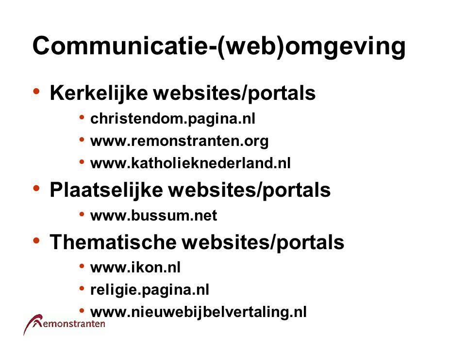 Communicatie-(web)omgeving Kerkelijke websites/portals christendom.pagina.nl www.remonstranten.org www.katholieknederland.nl Plaatselijke websites/por
