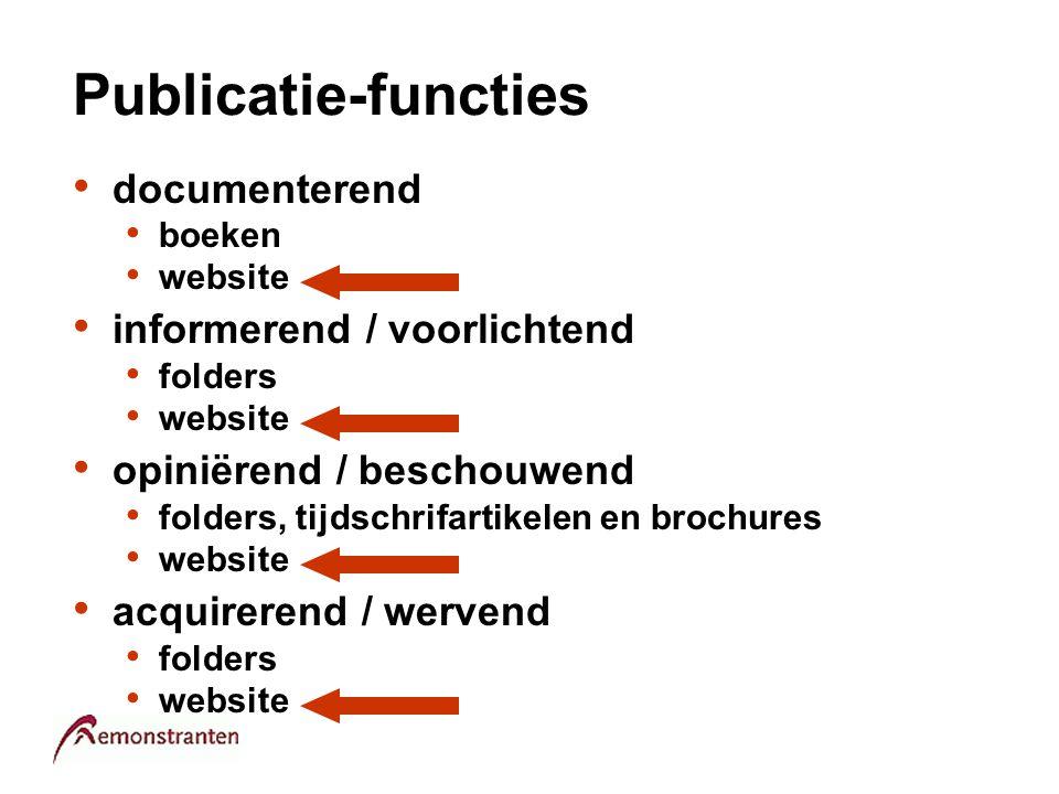 Publicatie-functies documenterend boeken website informerend / voorlichtend folders website opiniërend / beschouwend folders, tijdschrifartikelen en b