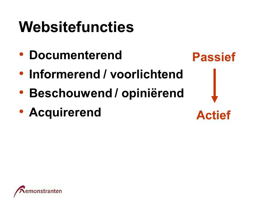 Websitefuncties Documenterend Informerend / voorlichtend Beschouwend / opiniërend Acquirerend Duurzaam Vluchtig Passief Actief