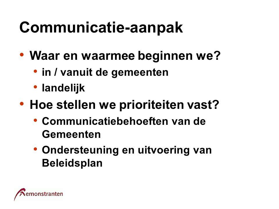 Communicatie-aanpak Waar en waarmee beginnen we? in / vanuit de gemeenten landelijk Hoe stellen we prioriteiten vast? Communicatiebehoeften van de Gem