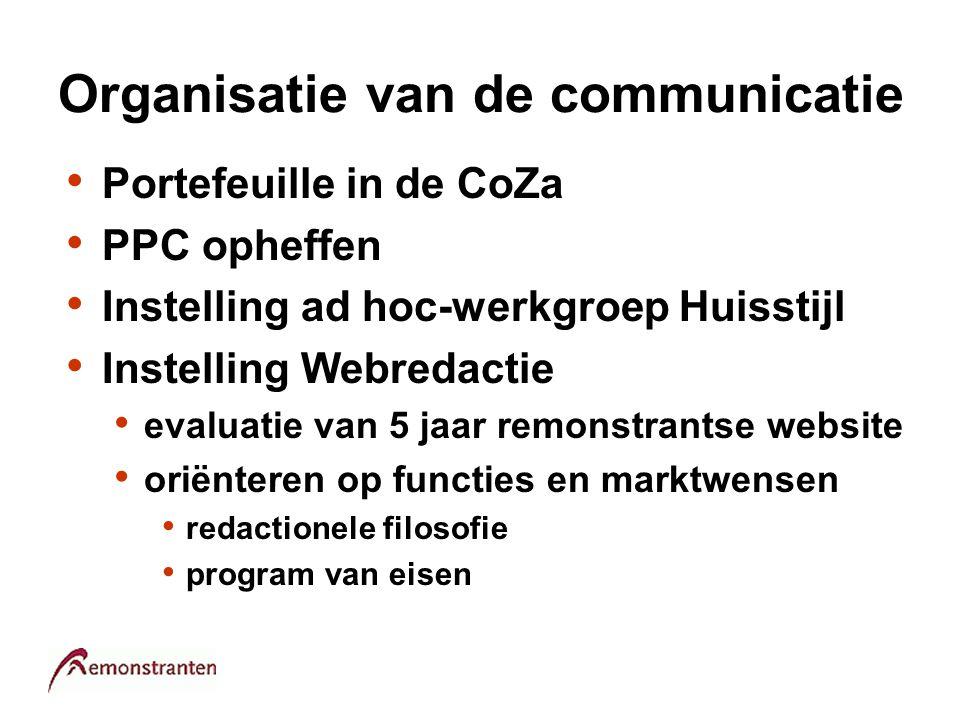 Organisatie van de communicatie Portefeuille in de CoZa PPC opheffen Instelling ad hoc-werkgroep Huisstijl Instelling Webredactie evaluatie van 5 jaar