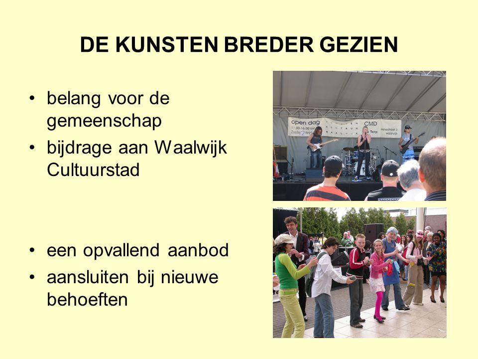 DE KUNSTEN BREDER GEZIEN belang voor de gemeenschap bijdrage aan Waalwijk Cultuurstad een opvallend aanbod aansluiten bij nieuwe behoeften