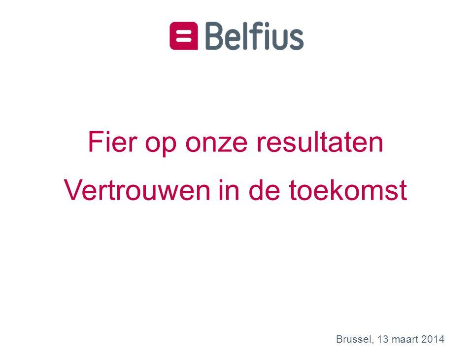 Kernboodschappen van Belfius 1 Mooie prestatie in 2013 met een nettoresultaat van 445 m€ 3 Sterke solvabiliteit en kapitaalspositie: 23/03/20153 1.