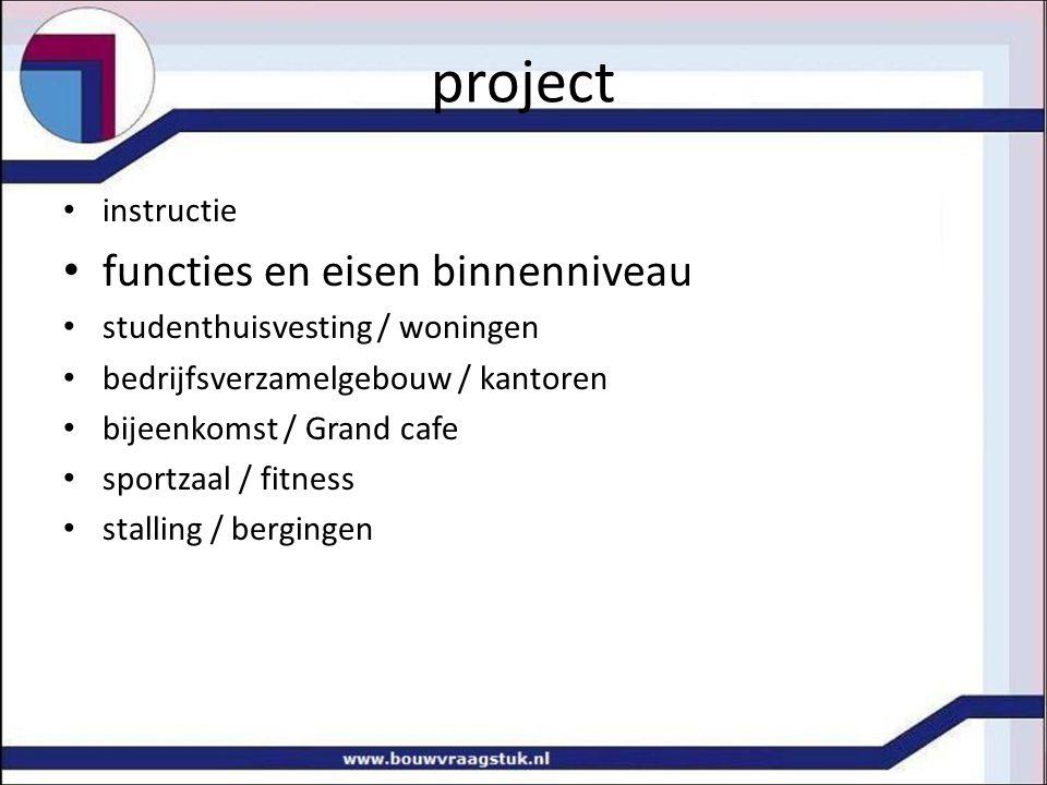 project instructie functies en eisen binnenniveau studenthuisvesting / woningen bedrijfsverzamelgebouw / kantoren bijeenkomst / Grand cafe sportzaal /