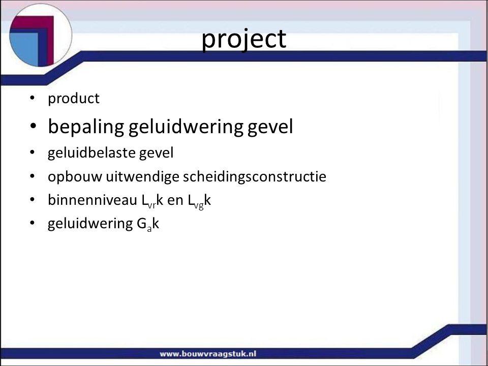 project product bepaling geluidwering gevel geluidbelaste gevel opbouw uitwendige scheidingsconstructie binnenniveau L vr k en L vg k geluidwering G a