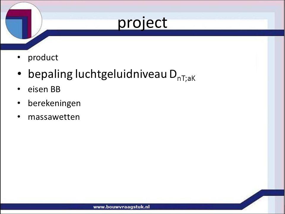 project product bepaling luchtgeluidniveau D nT;aK eisen BB berekeningen massawetten