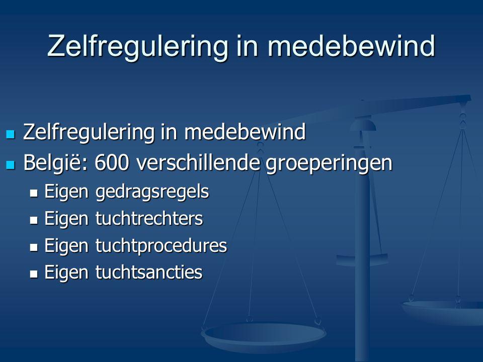 Zelfregulering in medebewind Zelfregulering in medebewind Zelfregulering in medebewind België: 600 verschillende groeperingen België: 600 verschillende groeperingen Eigen gedragsregels Eigen gedragsregels Eigen tuchtrechters Eigen tuchtrechters Eigen tuchtprocedures Eigen tuchtprocedures Eigen tuchtsancties Eigen tuchtsancties
