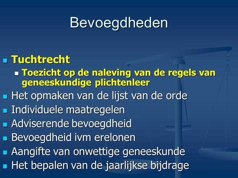 Bevoegdheden Tuchtrecht Tuchtrecht Toezicht op de naleving van de regels van geneeskundige plichtenleer Toezicht op de naleving van de regels van geneeskundige plichtenleer Het opmaken van de lijst van de orde Het opmaken van de lijst van de orde Individuele maatregelen Individuele maatregelen Adviserende bevoegdheid Adviserende bevoegdheid Bevoegdheid ivm erelonen Bevoegdheid ivm erelonen Aangifte van onwettige geneeskunde Aangifte van onwettige geneeskunde Het bepalen van de jaarlijkse bijdrage Het bepalen van de jaarlijkse bijdrage