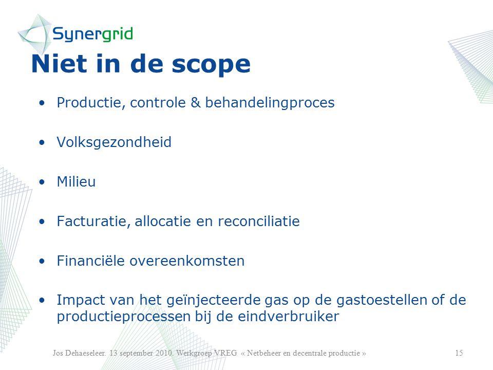 Niet in de scope Productie, controle & behandelingproces Volksgezondheid Milieu Facturatie, allocatie en reconciliatie Financiële overeenkomsten Impact van het geïnjecteerde gas op de gastoestellen of de productieprocessen bij de eindverbruiker 15Jos Dehaeseleer.