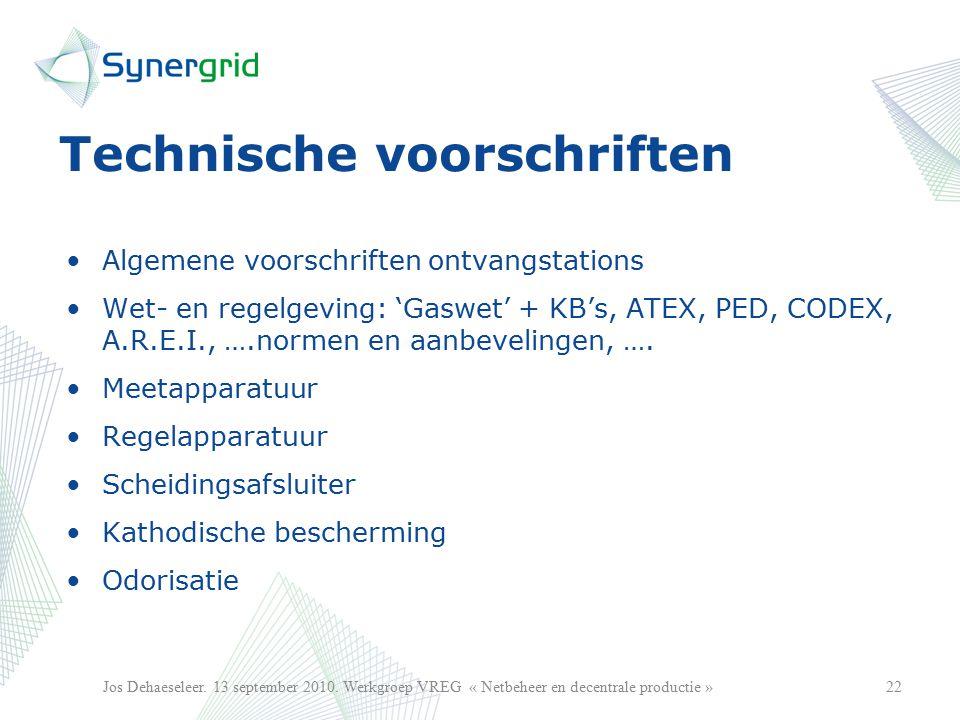 Technische voorschriften Algemene voorschriften ontvangstations Wet- en regelgeving: 'Gaswet' + KB's, ATEX, PED, CODEX, A.R.E.I., ….normen en aanbevelingen, ….
