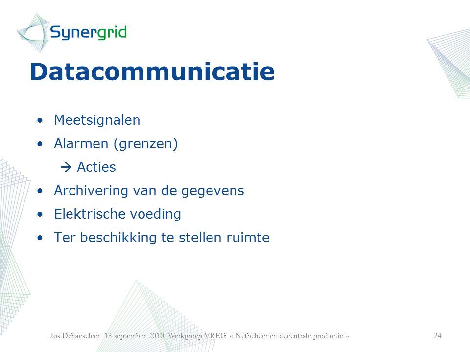 Datacommunicatie Meetsignalen Alarmen (grenzen)  Acties Archivering van de gegevens Elektrische voeding Ter beschikking te stellen ruimte 24Jos Dehaeseleer.