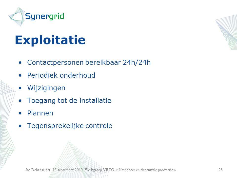 Exploitatie Contactpersonen bereikbaar 24h/24h Periodiek onderhoud Wijzigingen Toegang tot de installatie Plannen Tegensprekelijke controle 28Jos Dehaeseleer.