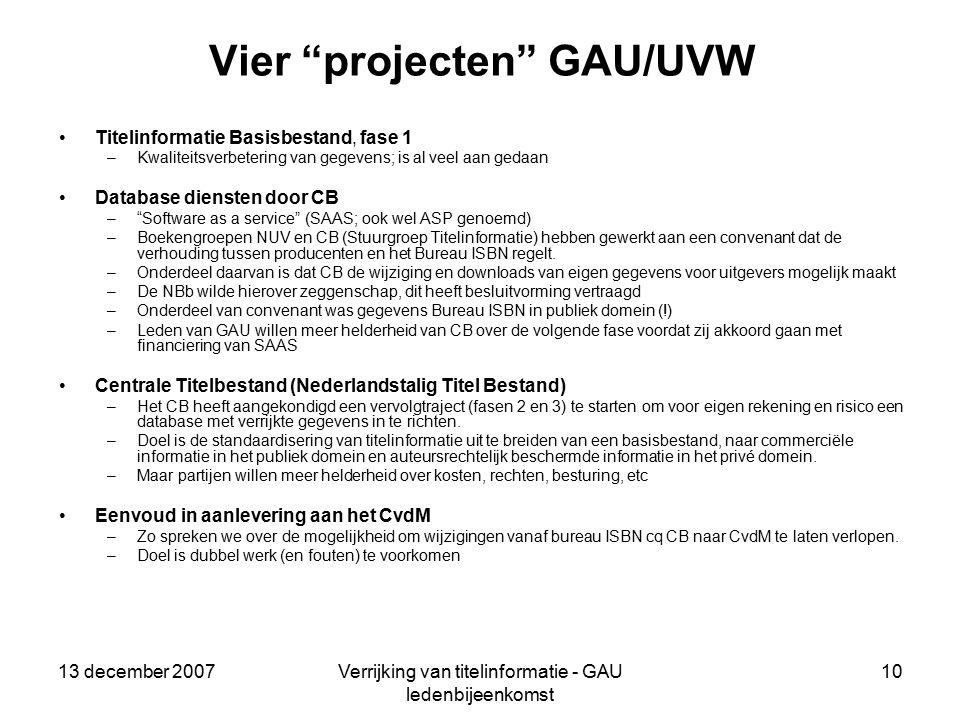 13 december 2007Verrijking van titelinformatie - GAU ledenbijeenkomst 10 Vier projecten GAU/UVW Titelinformatie Basisbestand, fase 1 –Kwaliteitsverbetering van gegevens; is al veel aan gedaan Database diensten door CB – Software as a service (SAAS; ook wel ASP genoemd) –Boekengroepen NUV en CB (Stuurgroep Titelinformatie) hebben gewerkt aan een convenant dat de verhouding tussen producenten en het Bureau ISBN regelt.