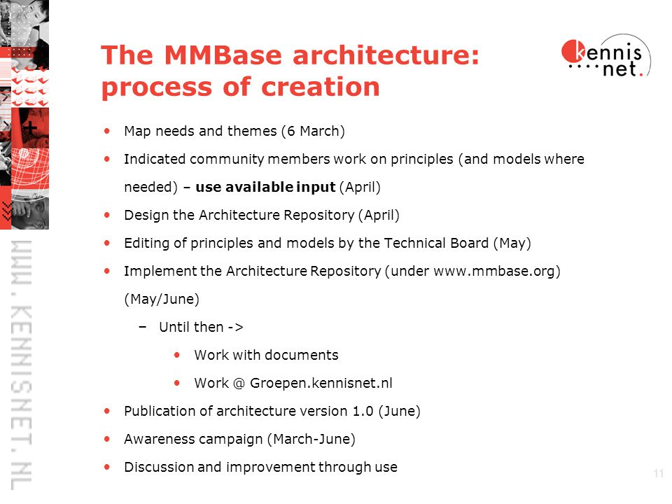 11 The MMBase architecture: process of creation Map needs and themes (6 March) Indicated community members work on principles (and models where needed) – use available input (April) Design the Architecture Repository (April) Editing of principles and models by the Technical Board (May) Implement the Architecture Repository (under www.mmbase.org) (May/June) – Until then -> Work with documents Work @ Groepen.kennisnet.nl Publication of architecture version 1.0 (June) Awareness campaign (March-June) Discussion and improvement through use