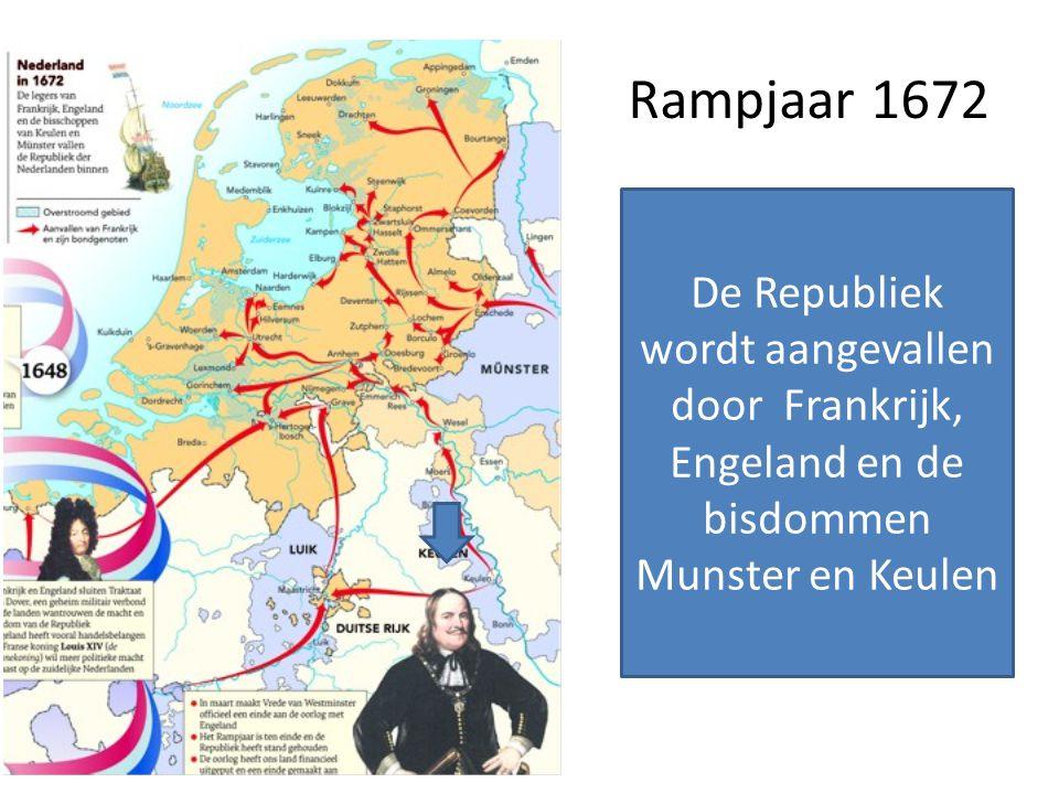 Rampjaar 1672 De Republiek wordt aangevallen door Frankrijk, Engeland en de bisdommen Munster en Keulen