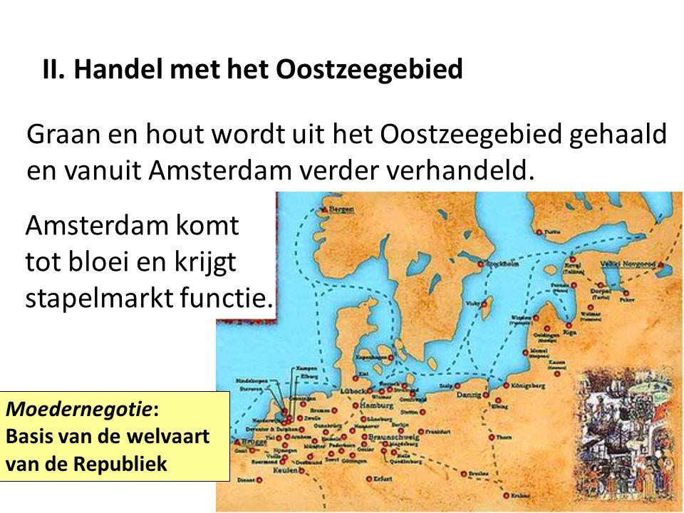 II. Handel met het Oostzeegebied Graan en hout wordt uit het Oostzeegebied gehaald en vanuit Amsterdam verder verhandeld. Moedernegotie: Basis van de