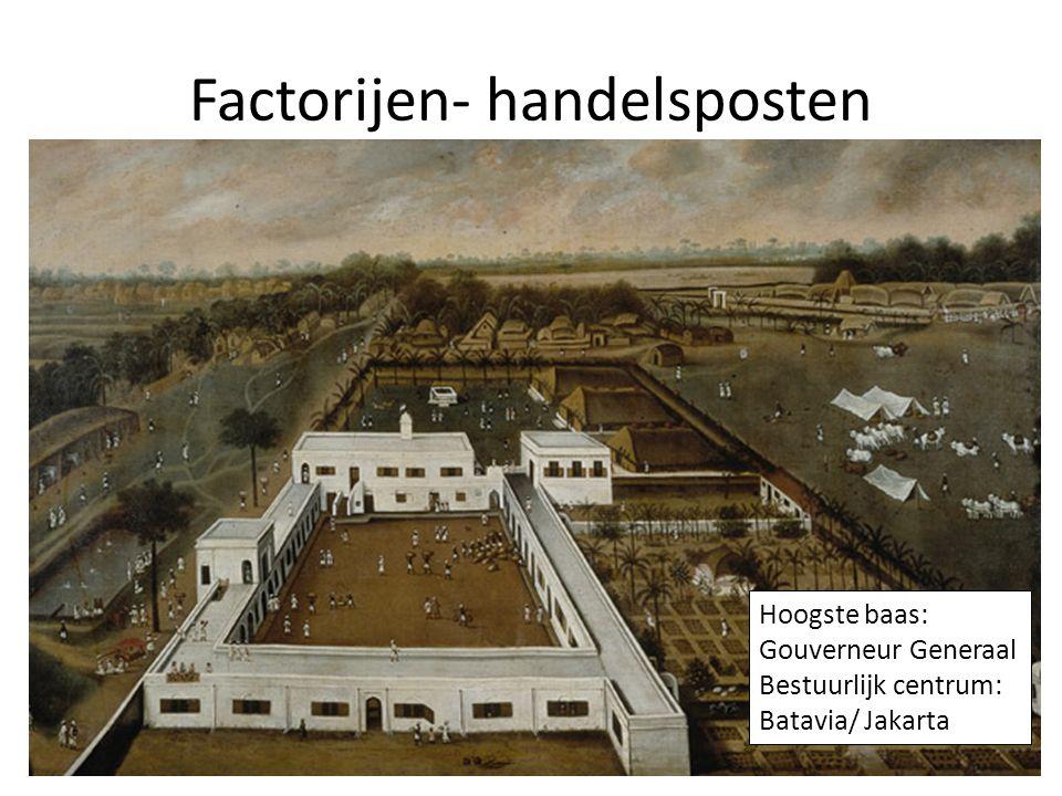 Factorijen- handelsposten Hoogste baas: Gouverneur Generaal Bestuurlijk centrum: Batavia/ Jakarta