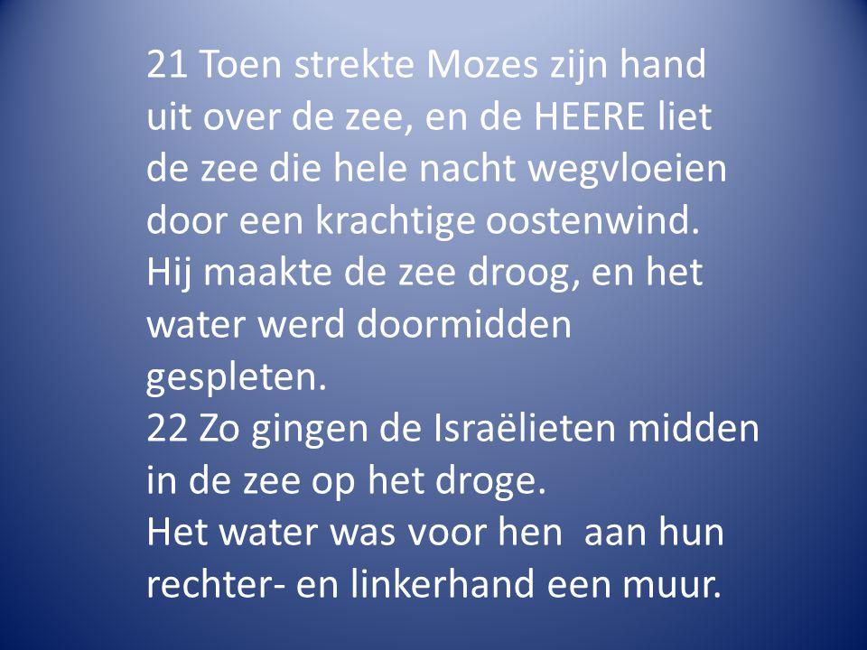 21 Toen strekte Mozes zijn hand uit over de zee, en de HEERE liet de zee die hele nacht wegvloeien door een krachtige oostenwind.