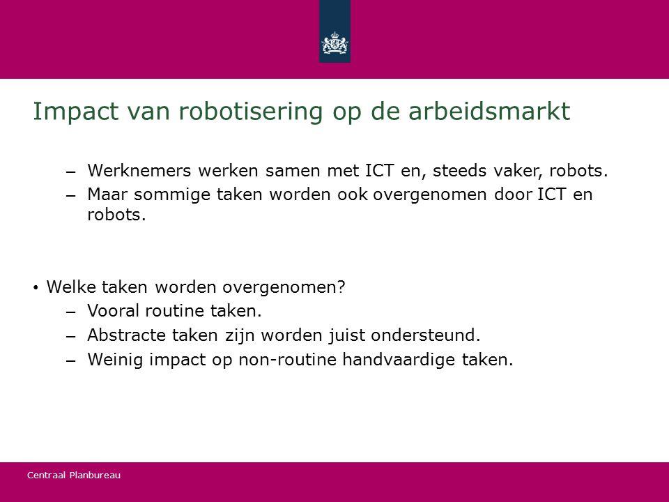 Centraal Planbureau Impact van robotisering op de arbeidsmarkt – Werknemers werken samen met ICT en, steeds vaker, robots. – Maar sommige taken worden