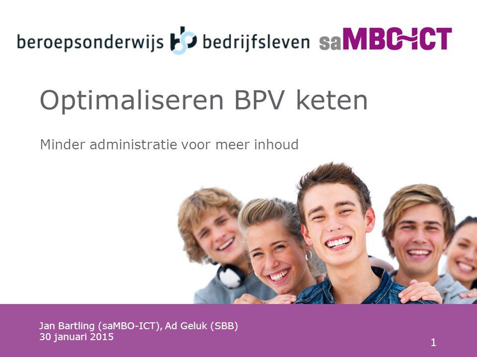 1 Optimaliseren BPV keten Jan Bartling (saMBO-ICT), Ad Geluk (SBB) 30 januari 2015 Minder administratie voor meer inhoud