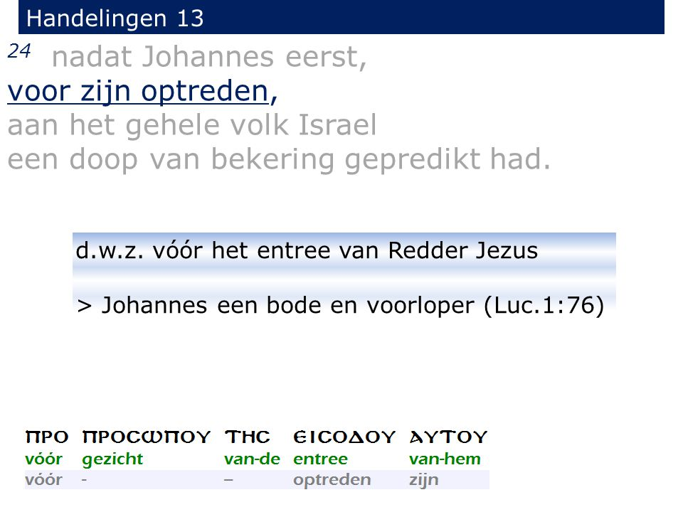 24 nadat Johannes eerst, voor zijn optreden, aan het gehele volk Israel een doop van bekering gepredikt had.