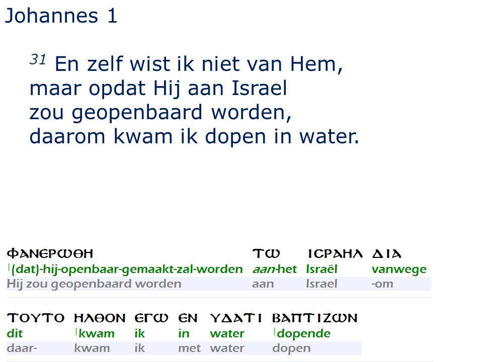 Johannes 1 31 En zelf wist ik niet van Hem, maar opdat Hij aan Israel zou geopenbaard worden, daarom kwam ik dopen in water.