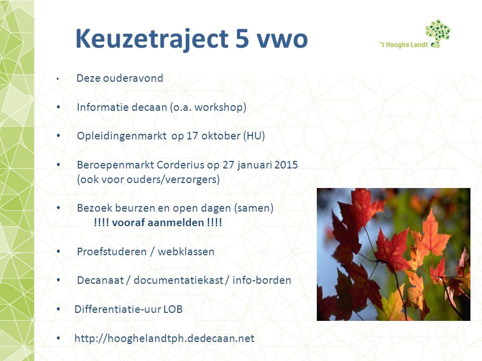 Keuzetraject 5 vwo Deze ouderavond Informatie decaan (o.a. workshop) Opleidingenmarkt op 17 oktober (HU) Beroepenmarkt Corderius op 27 januari 2015 (o