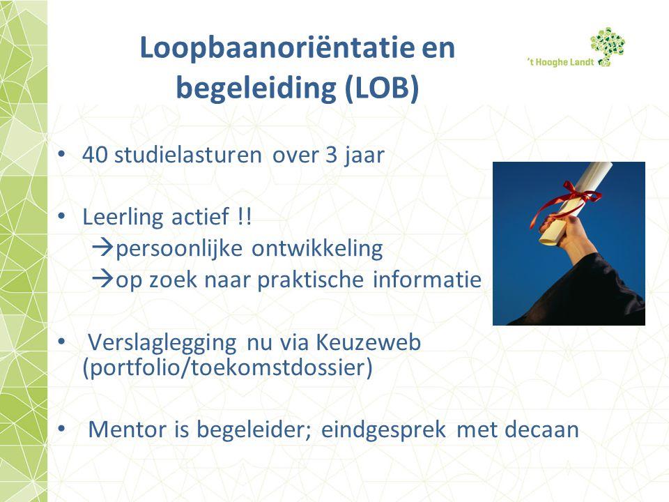 Loopbaanoriëntatie en begeleiding (LOB) 40 studielasturen over 3 jaar Leerling actief !!  persoonlijke ontwikkeling  op zoek naar praktische informa