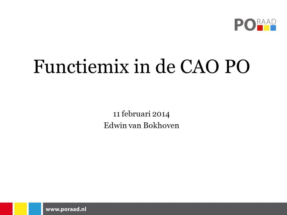 Functiemix in de CAO PO Bestuursniveau Schoolniveau Definitie leraar De overgang naar een hogere functie