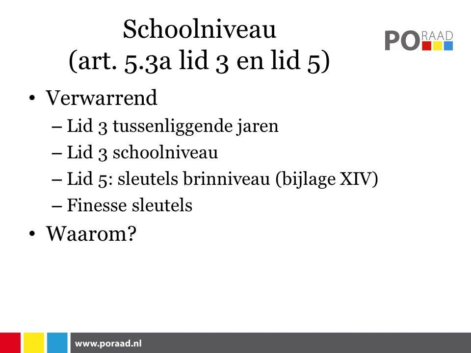 Schoolniveau (art. 5.3a lid 3 en lid 5) Verwarrend – Lid 3 tussenliggende jaren – Lid 3 schoolniveau – Lid 5: sleutels brinniveau (bijlage XIV) – Fine