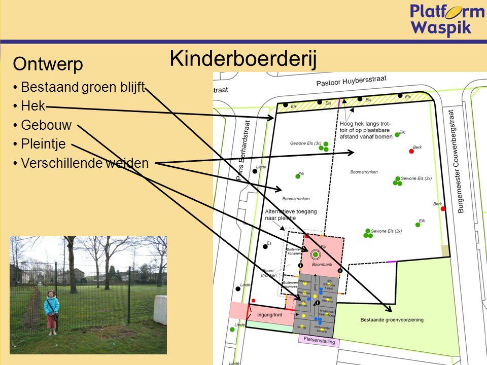 Kinderboerderij Bestaand groen blijft Ontwerp Hek Verschillende weiden Gebouw Pleintje