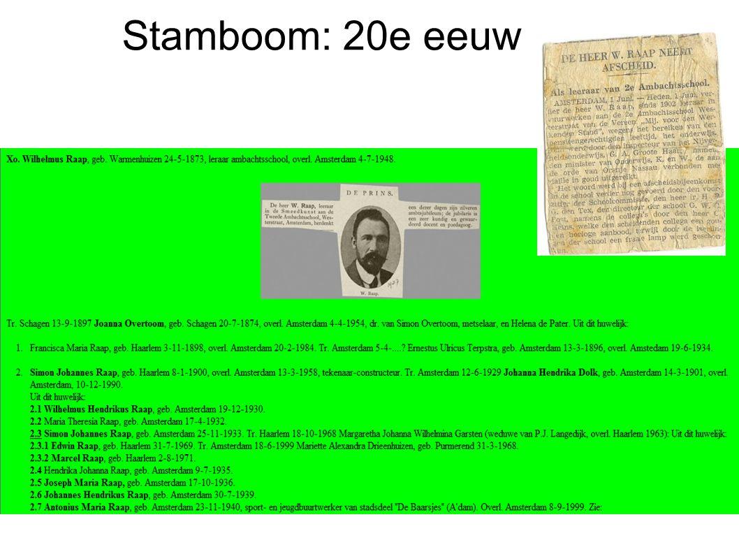 Stamboom: 20e eeuw