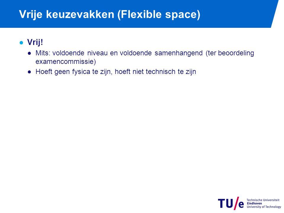 Vrije keuzevakken (Flexible space) ●Vrij! ●Mits: voldoende niveau en voldoende samenhangend (ter beoordeling examencommissie) ●Hoeft geen fysica te zi