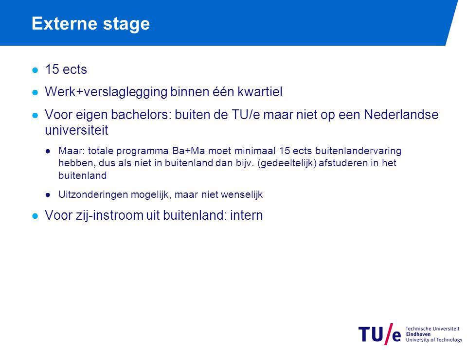 Externe stage ●15 ects ●Werk+verslaglegging binnen één kwartiel ●Voor eigen bachelors: buiten de TU/e maar niet op een Nederlandse universiteit ●Maar: totale programma Ba+Ma moet minimaal 15 ects buitenlandervaring hebben, dus als niet in buitenland dan bijv.