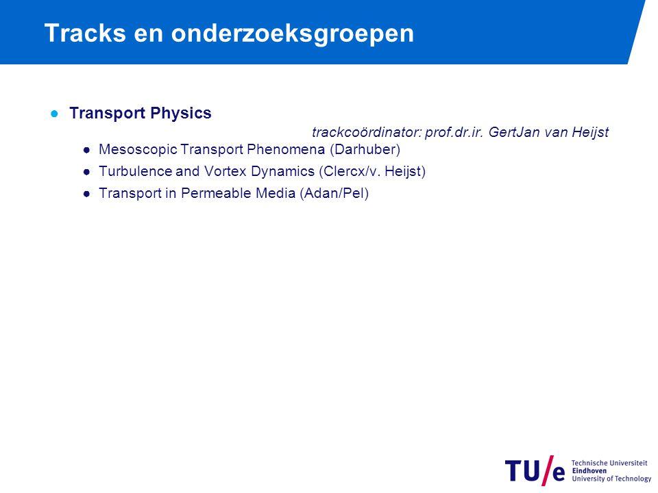 Tracks en onderzoeksgroepen ●Transport Physics trackcoördinator: prof.dr.ir. GertJan van Heijst ●Mesoscopic Transport Phenomena (Darhuber) ●Turbulence