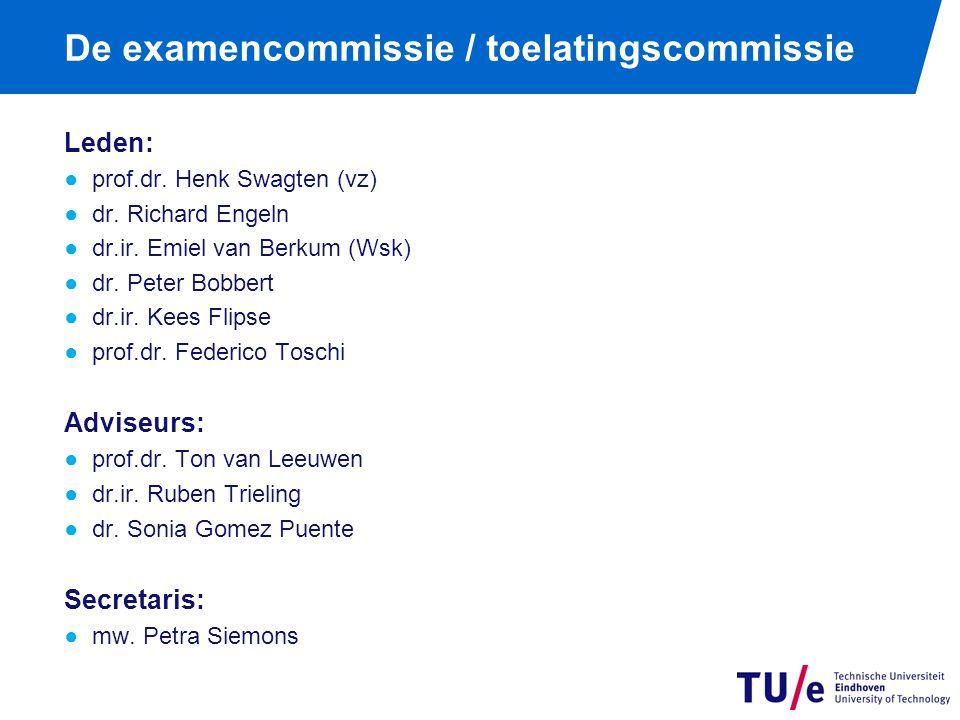 De examencommissie / toelatingscommissie Leden: ●prof.dr. Henk Swagten (vz) ●dr. Richard Engeln ●dr.ir. Emiel van Berkum (Wsk) ●dr. Peter Bobbert ●dr.