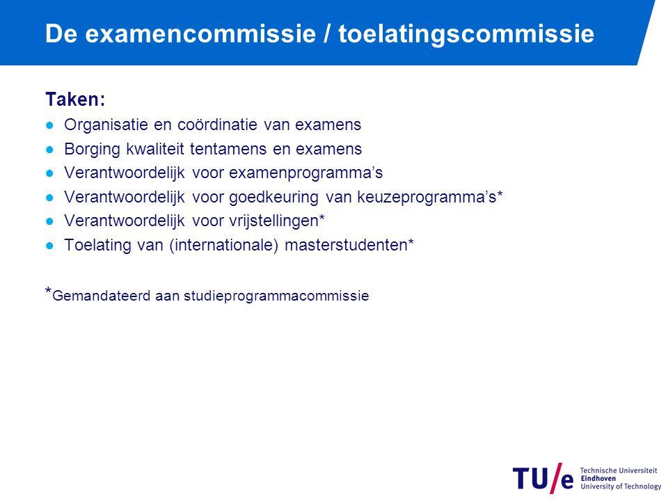 De examencommissie / toelatingscommissie Taken: ●Organisatie en coördinatie van examens ●Borging kwaliteit tentamens en examens ●Verantwoordelijk voor