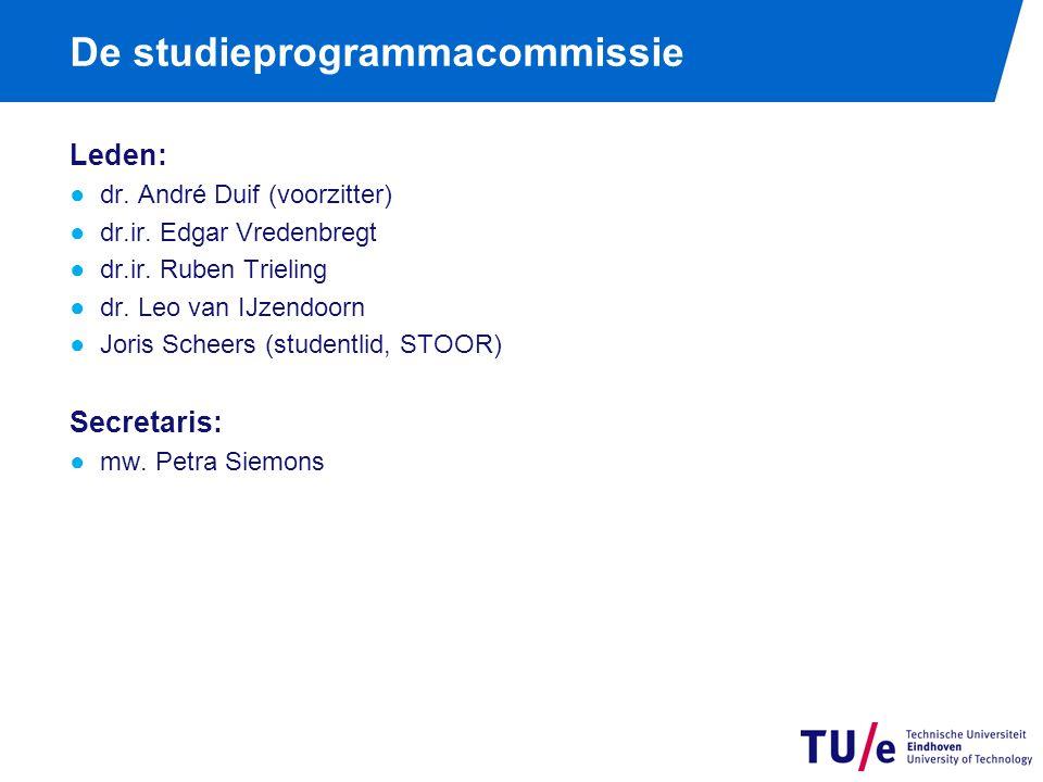 De studieprogrammacommissie Leden: ●dr.André Duif (voorzitter) ●dr.ir.