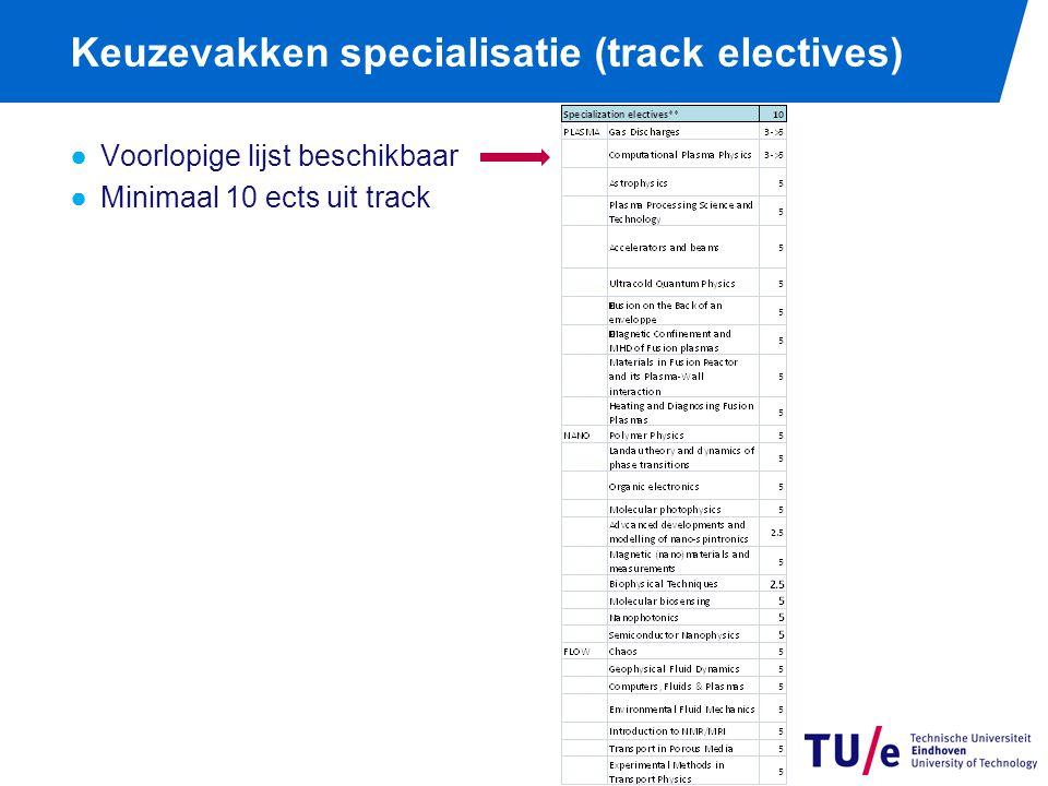 Keuzevakken specialisatie (track electives) ●Voorlopige lijst beschikbaar ●Minimaal 10 ects uit track