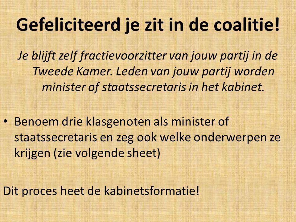 Gefeliciteerd je zit in de coalitie! Je blijft zelf fractievoorzitter van jouw partij in de Tweede Kamer. Leden van jouw partij worden minister of sta