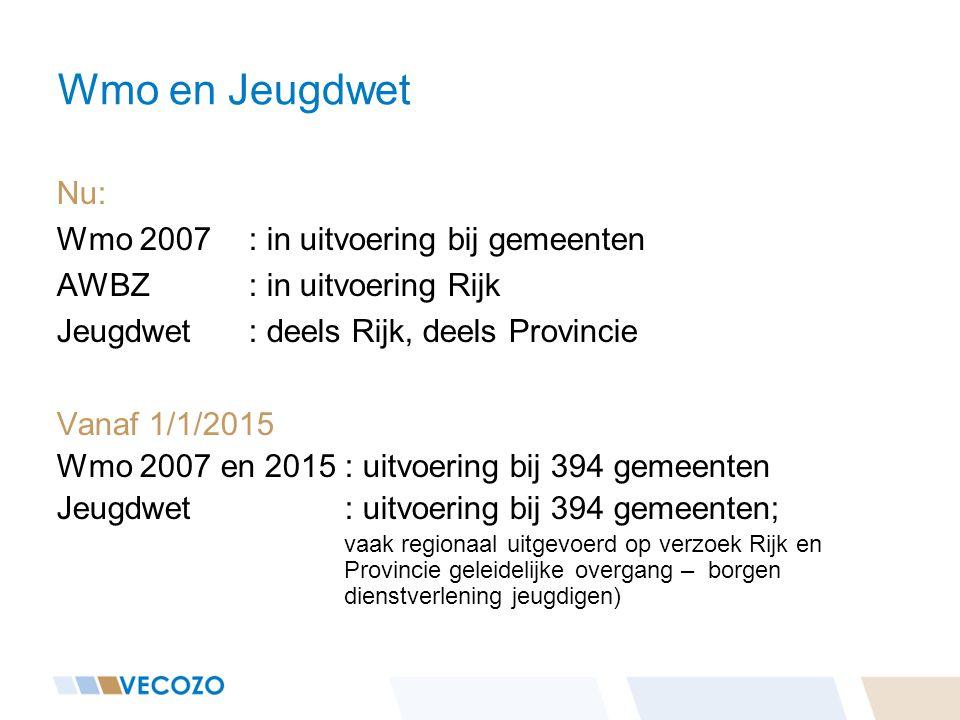 Wmo en Jeugdwet Nu: Wmo 2007: in uitvoering bij gemeenten AWBZ : in uitvoering Rijk Jeugdwet: deels Rijk, deels Provincie Vanaf 1/1/2015 Wmo 2007 en 2