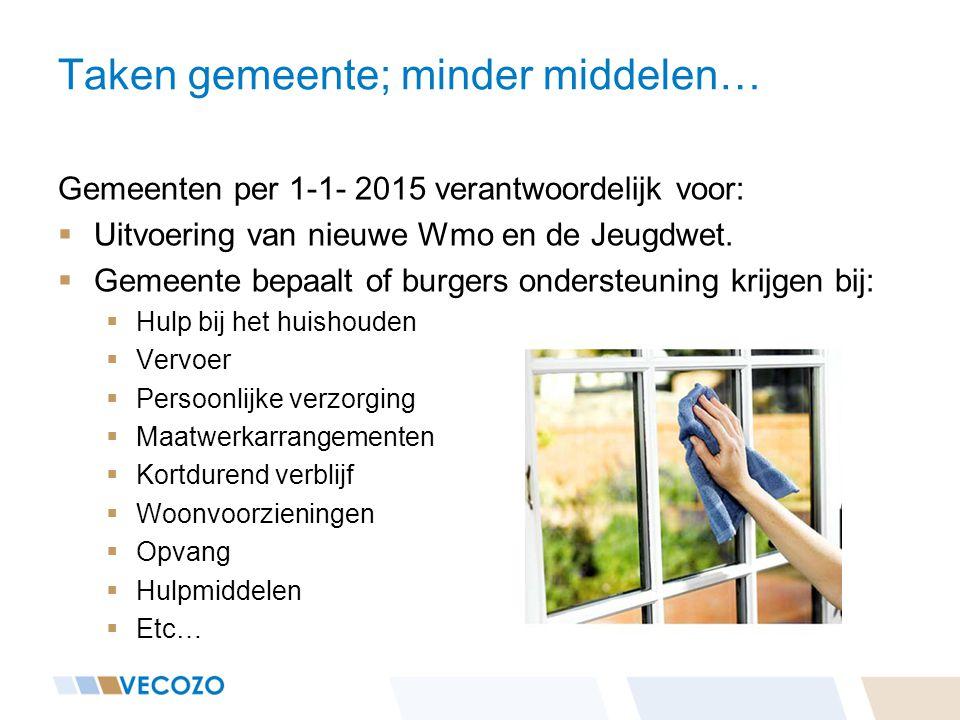 Taken gemeente; minder middelen… Gemeenten per 1-1- 2015 verantwoordelijk voor:  Uitvoering van nieuwe Wmo en de Jeugdwet.  Gemeente bepaalt of burg